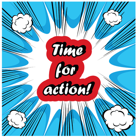 clock work: comic Time for Action stamp background Stock Photo