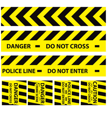 one lane road sign: Basic illustration of police security tapes, yellow with black and red, vector illustration