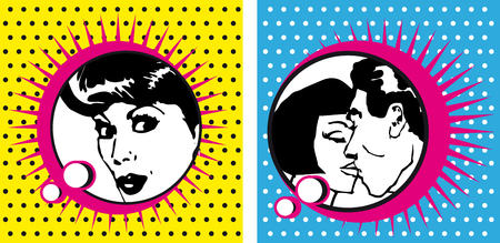 pop art: Pop Art Woman and kissing Couple dot backgrounds cards bobble comic style ad banner