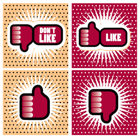 lichtenstein: Pop art Comic Book Style Banners with Thumbs up button - like button Thumbs down button - dont like button