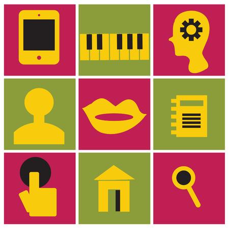 microblogging: Vector internet social marketing icons retro