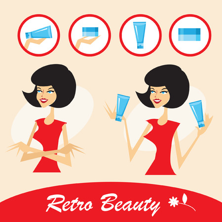 Retro Beautiful young woman with a cosmetics icons set