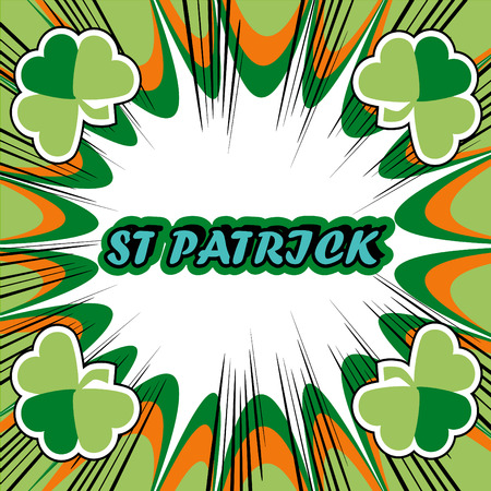 17th march: St. Patricks Day Greeting Card boom retro background