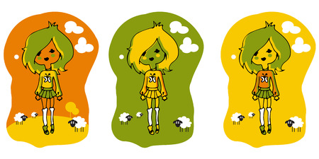 blonde teenage girl: Fashion Girl ClipArt set three lables