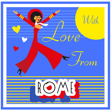 touristic: Vintage Touristic Greeting Card -Italy , Rome ,Vector sign poster emblem Stock Photo
