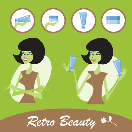 clay mask: Retro Beautiful young woman with a cosmetics icons set