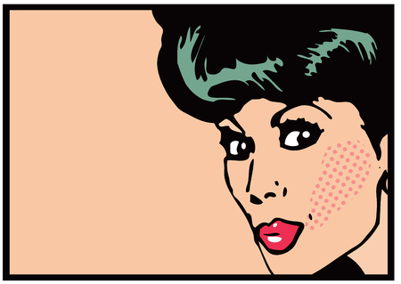 ben day dot: Vintage Clip Art Woman Secret card Big open eyes Stock Photo