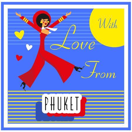 touristic: Vintage Touristic Greeting Card -Thailand , Phuket ,Vector sign poster emblem