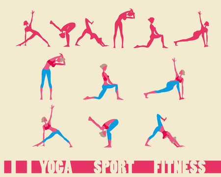 sequence: Sport fitness Yoga sequence icons set