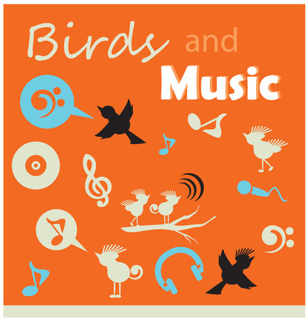 birds and music silhouette icons sets
