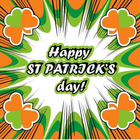 17th: happy St. Patricks Day Greeting Card boom retro background