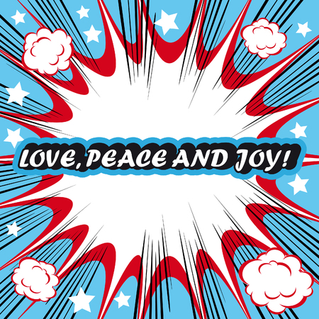 love dynamite: Retro background Design Template boom with word Love Peace and Joy Comic book background
