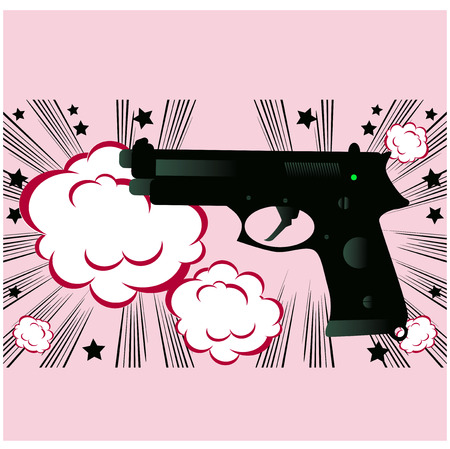 semi automatic: Pop art Weapon boom background banner template Stock Photo