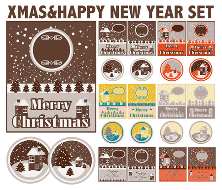christmas backgrounds: Merry Christmas and Happy New Year cards and backgrounds  lables design illustration collection