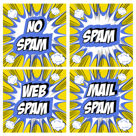 spammer: No Spam, spam, web spam,email spam - Spam concept backgrounds Pop art comic style set Stock Photo
