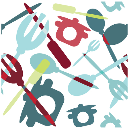 silverware: Seamless Transparency silverware icons seamless pattern background. Fork, knife and spoon silhouettes on different sizes and colors. Stock Photo