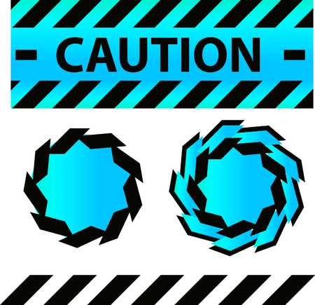 csi: Caution or danger and police tape attention with lables stickers and design elements set