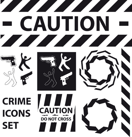 fatality: Silhouette icons set Caution, danger, and police crime concept design elements