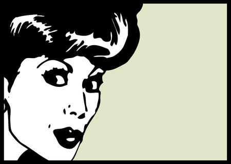 ben day dot: Vintage Clip Art Woman Secret card