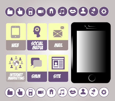 infographics touchscreen: SMM social marketing signs vector set with internet icons and mobile phone