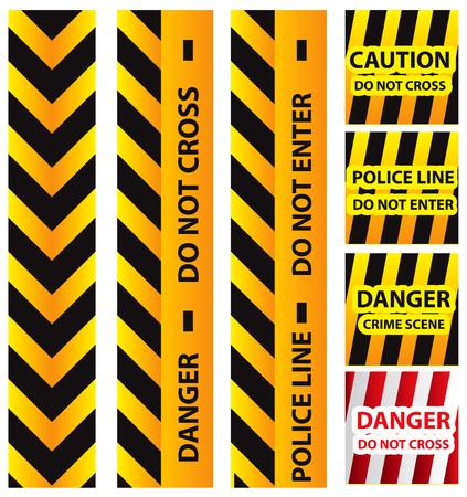 caution sign: Basic illustration of police security tapes, yellow with black and red, vector illustration