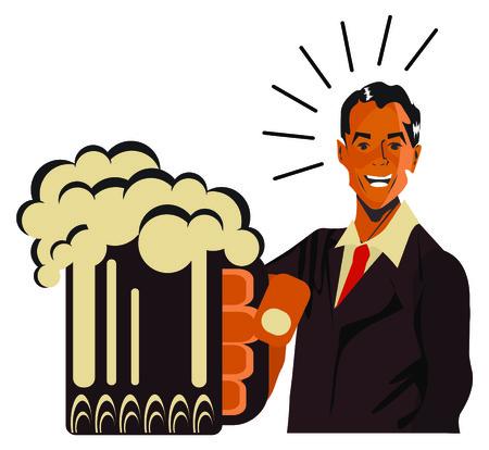 steins: REtro happy man with beet - vintage art illustration Happy smiling man Stock Photo