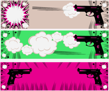 sprawled: Pop art guns banners set styled illustration on a crime based theme boom Stock Photo