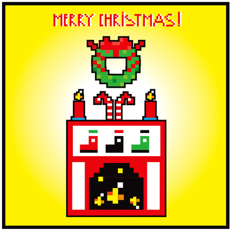 hearthside: pixel art xmas home sweet home rairplace background card merry christmas