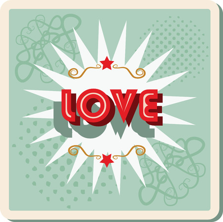 metamorphosis: love - retro background with word. sign Card Pop Art office stamp