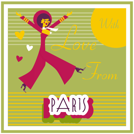 e card: Vintage Touristic Greeting Card - France , Paris , Vector sign poster emblem