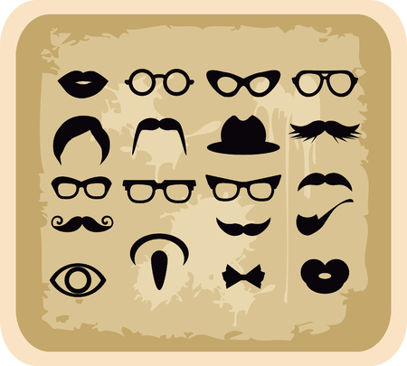 cat eye: Vector grunge Mustaches and other Accessories Vector Set silhouettes