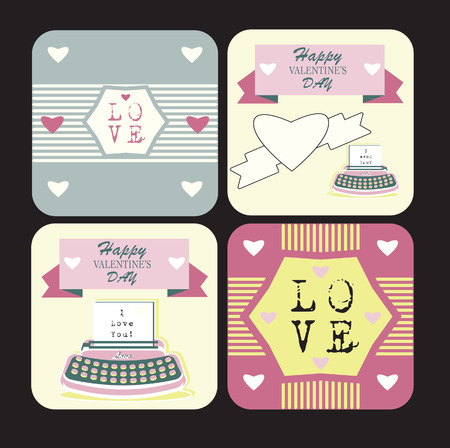 weeding: Valentines day and weeding cards with ornaments, typography, hearts, ribbon, arrow, and typewriter Happy Retro backgrounds set Stock Photo