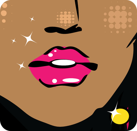 sex appeal: illustration Close-up of woman lips with glossy lipstick icon emblem symbol