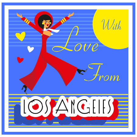 touristic: Vintage Touristic Greeting Card -USA , Los Angeles,Vector sign poster emblem