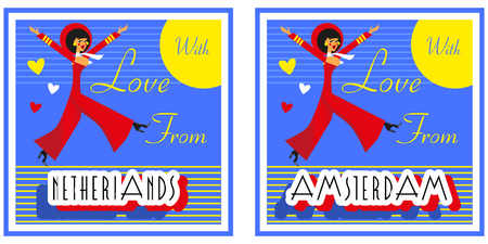 e card: Vintage Touristic Greeting Card -Netherlands , Amsterdam ,Vector sign poster emblem