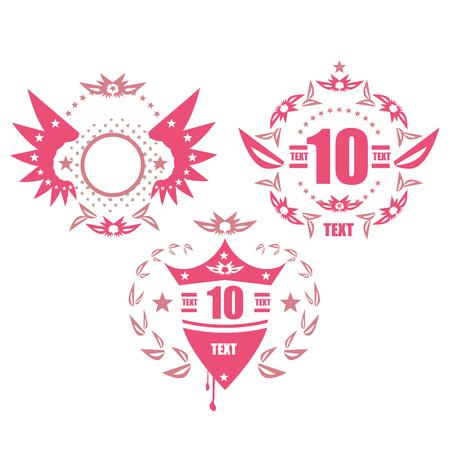 dirty t shirt: Grunge emblems set illustration Stock Photo