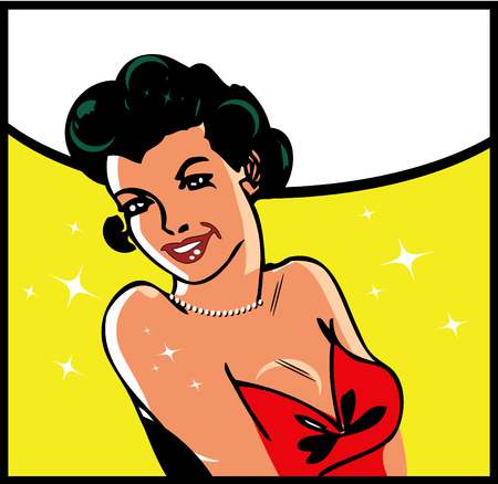 joyous: lady smile retro clip art illustration success woman