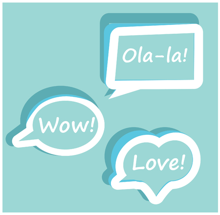 chatter: Retro Vector speech bubble for dialogue with text Wow love Ola-la easy to change   Orange icons