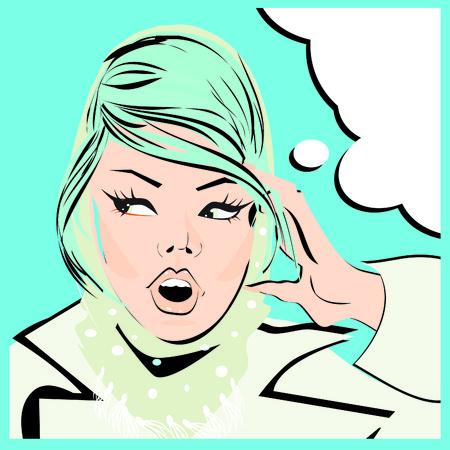 stylish woman: Pop art woman background