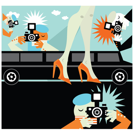 famosos: famosa mujer posando para los paparazzi ilustración infografía