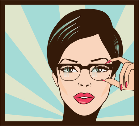 comic: Gafas de diseño mujer retrato primer plano. Mujer que desgasta el marco de los vidrios que llevan a cabo en primer plano. Hermosa mestiza de raza caucásica mujer china asiática joven en el fondo. Foto de archivo