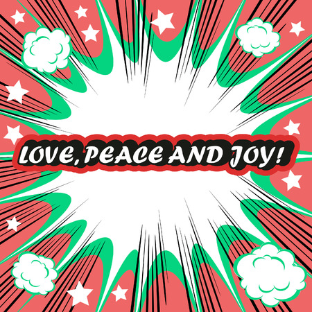love blast: Retro background Design Template boom with word Love Peace and Joy Comic book background