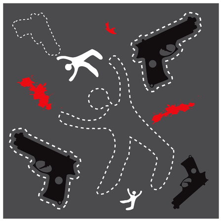 Silhouette of the dead man and gun on the ground, vector background dead body otline with hand gun Stock Photo