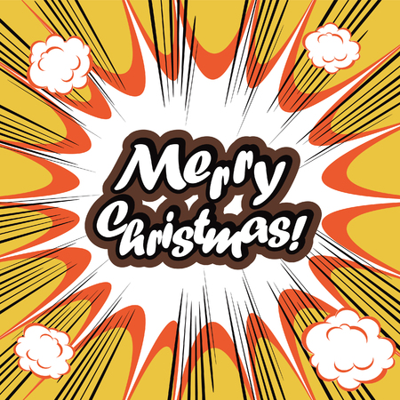 x mas: Comic book background Merry Christmas Card