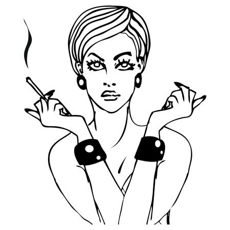 girl smoking: retrato de estilo pop art ejemplo de la muchacha fumar tinta del tatuaje