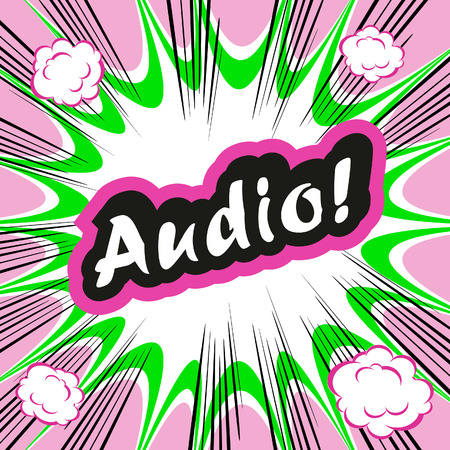 conceptual cute: Comic book background Audio! concept or conceptual cute Audio text on pop art background for your designs or presentations