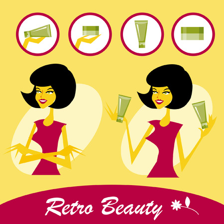 gal: Retro Beautiful young woman with a cosmetics icons set