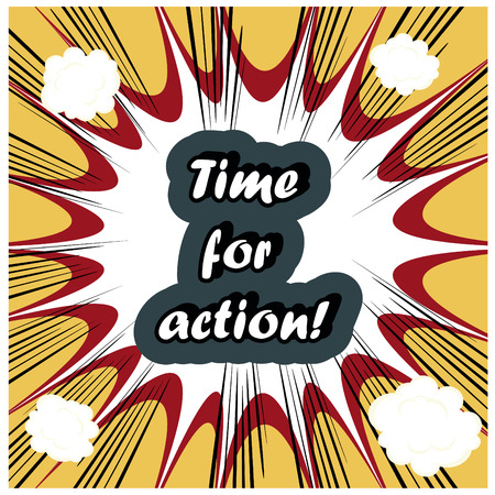 conquering adversity: comic Time for Action stamp background Stock Photo