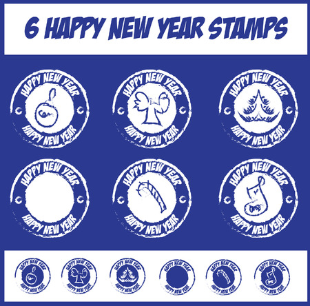 happy new year stamp: vector icons stamp set Happy new year stamp