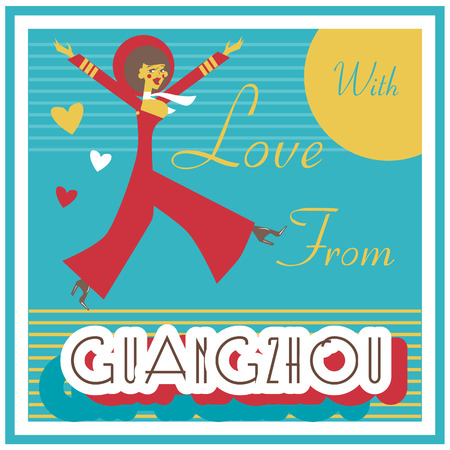 touristic: Vintage Touristic Greeting Card - China , Guangzhou ,, Vector sign poster emblem